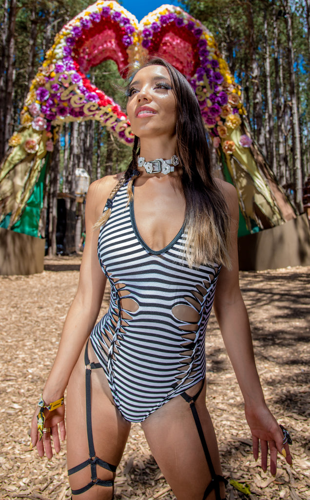Snip Tease - Circus Stripe Bamboo Liberty Bodysuit - Warrior Within Designs ,Bodysuit