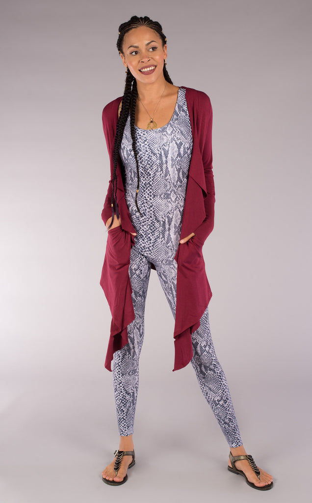 Maroon Bamboo Waterfall Cardigan