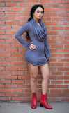 Slate Suede Sleeved Huntress Cinch Dress - Warrior Within Designs ,Dress