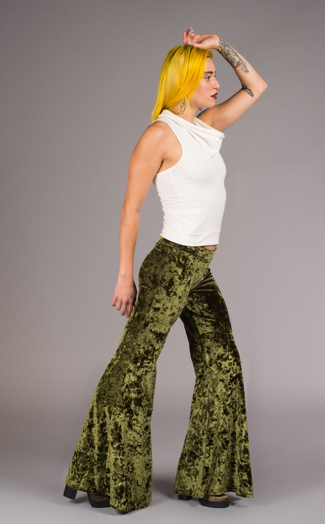 Emerald Velvet Flow Pants - Warrior Within Designs ,Pants