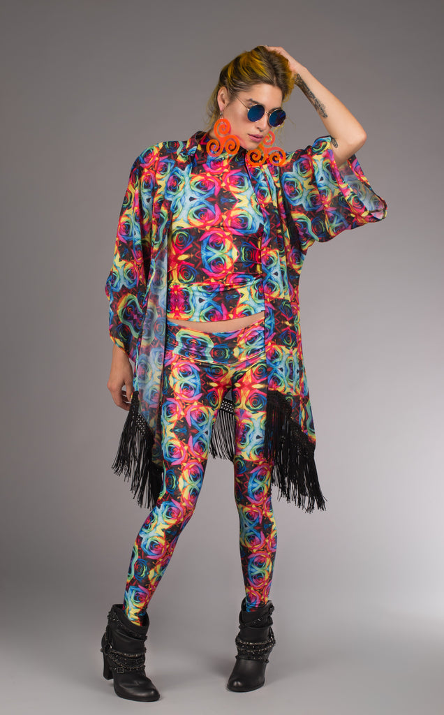 Dark Tie Dye Roses Kimono - Jammin Warrior Collective