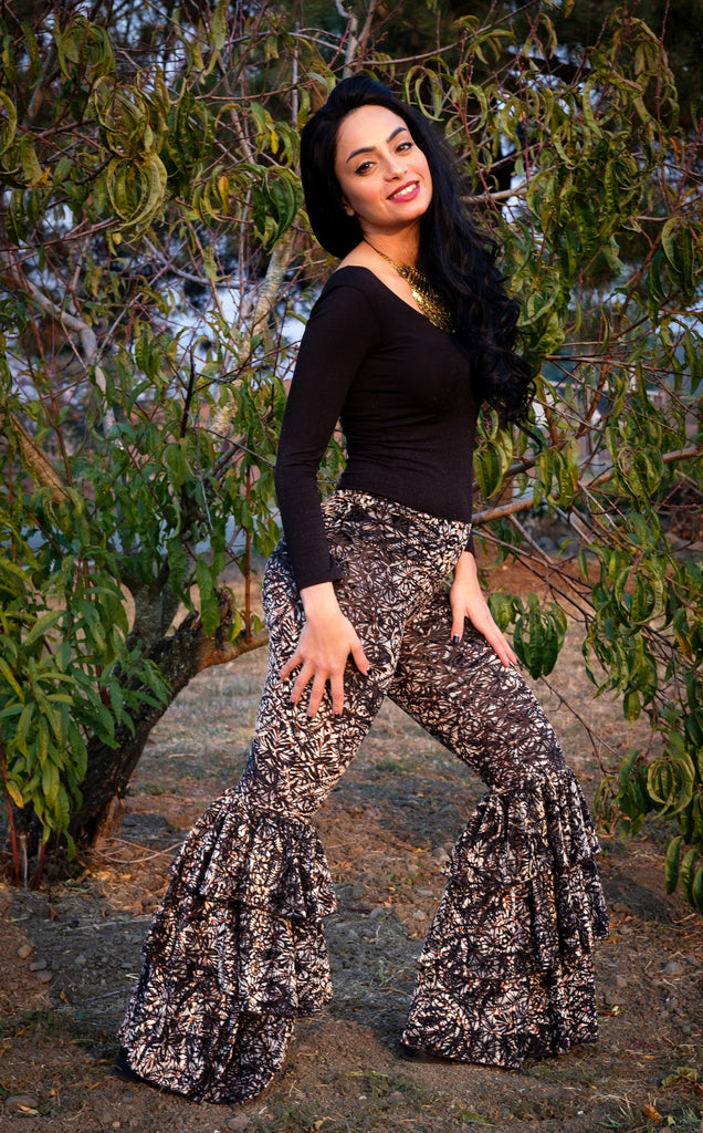 20% Off - Metallic Lotus Burnout Velvet Pirate Pants