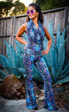 Cyan Liquid Light Firebird Slim Bell Onesie X Jammin Warrior Collective