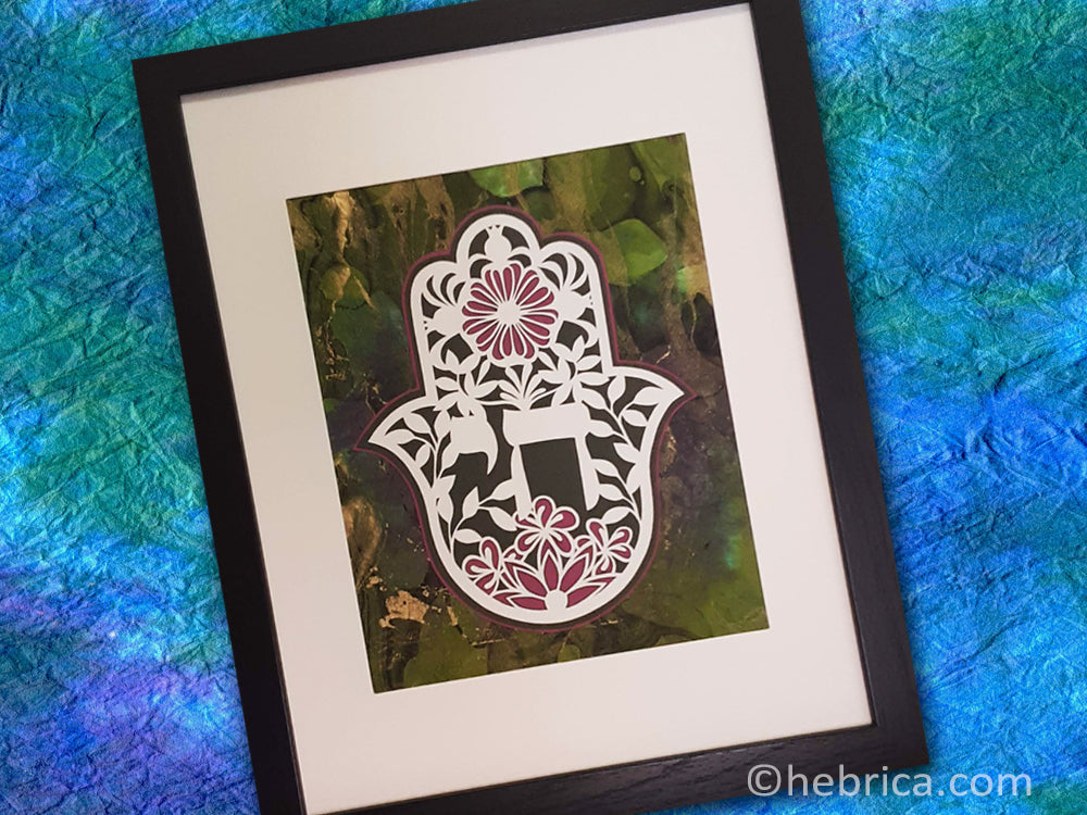Chai for Life Hamsa - Jewish Paper Cut Art