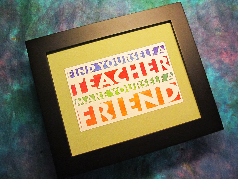 Find Yourself a Teacher - Jewish Papercut Art