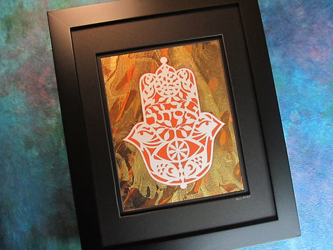 Hebrew Name Esther Hamsa - Jewish Papercut Art