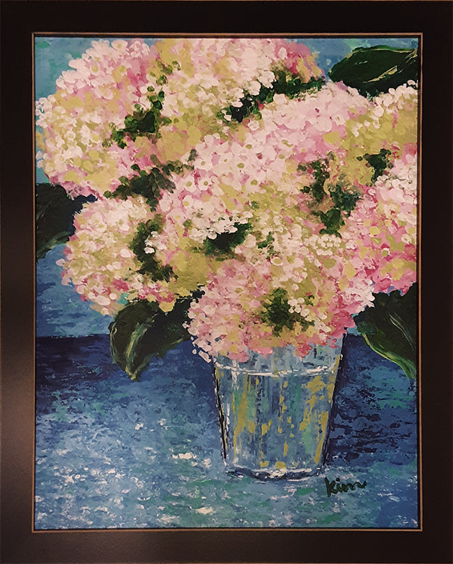 Pink Hydrangeas in Blue Vase
