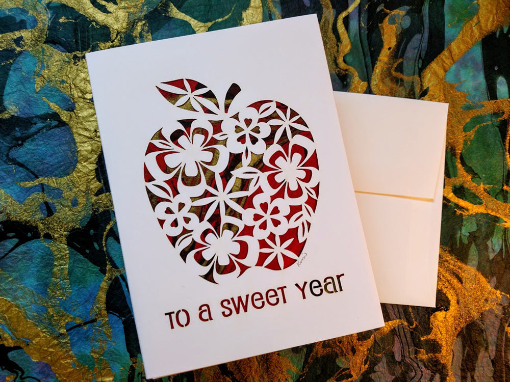 Rosh hashanah card jewish greeting card hebrica judaic art rosh hashanah card jewish greeting card m4hsunfo