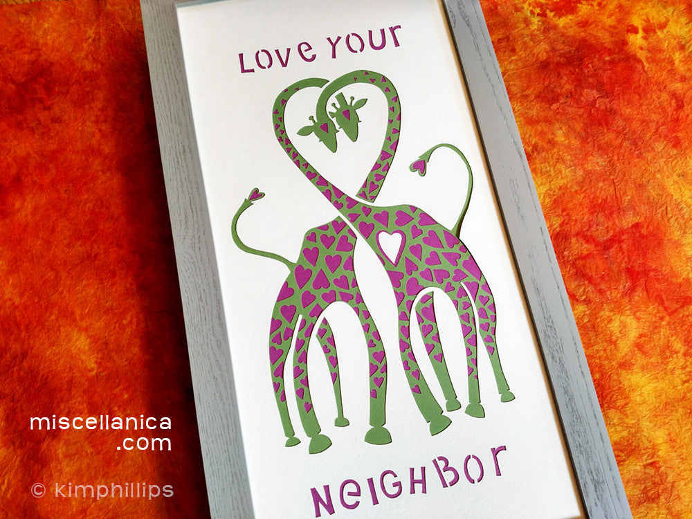 Love Your Neighbor Giraffe - Paper Cut Art