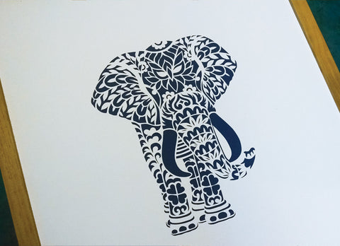 Elephant Papercut Art