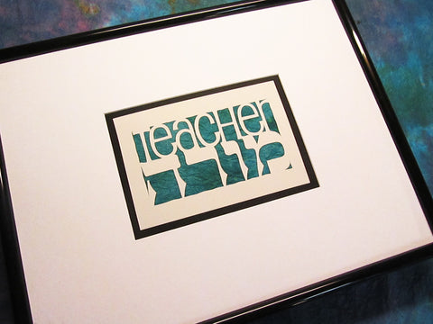 Gift for Teacher - Morah - Jewish Papercut Art