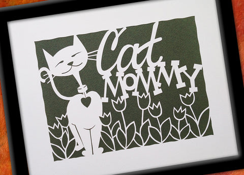 Cat Mommy Paper Cut Art