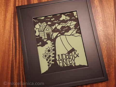Tree House Kids Name Paper Cut Art