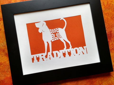 Tradition - Smoky the UT Hound - Paper Cut Art