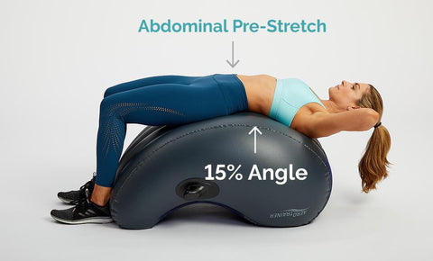 A woman in the starting position of a crunch, showing the 15% angle and abdominal pre-stretch.