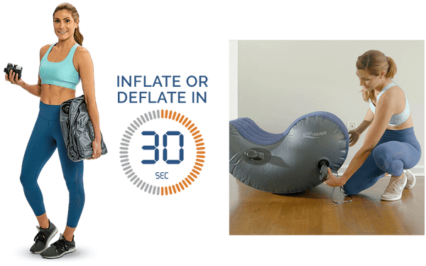 Woman holding a deflated AeroTrainer and pump. Graphic showing the 30 second inflation and deflation time. Woman inflating her Aerotrainer in her home.