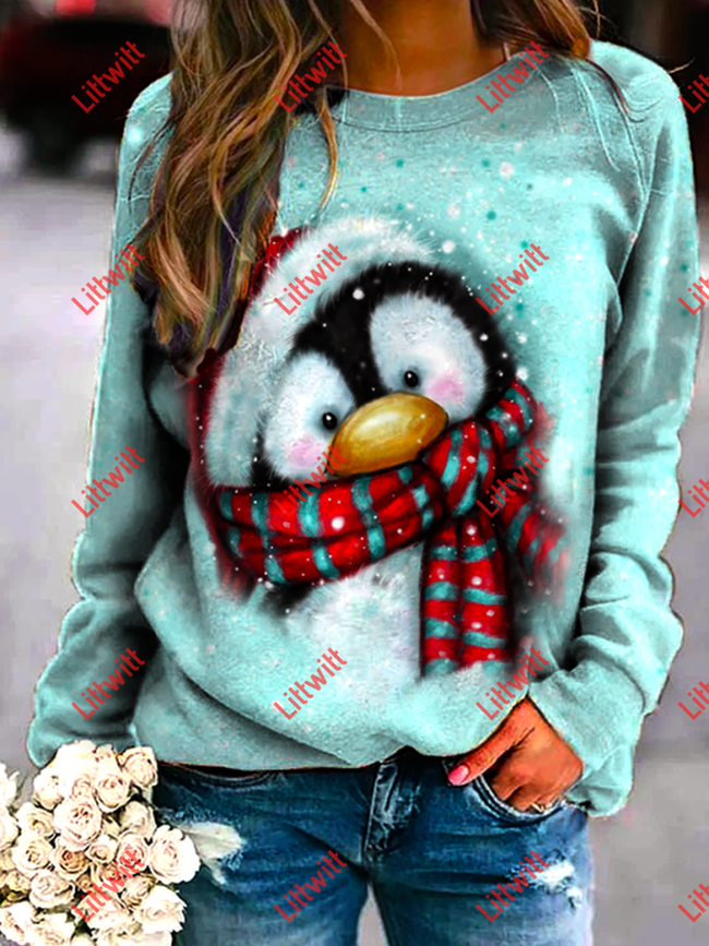 Penguin With Christmas Hat Printed Sweatshirt As Pic / S