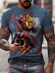 Mens Casual Lion Warrior Heart K Poker Art Print Short Sleeve Crew Neck T-Shirt As Pic / S