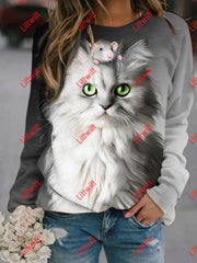 Mouse And Cat Printed Sweatshirt