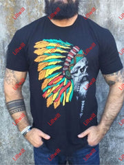 Indian Tribe Men Printed Shirt Black / S
