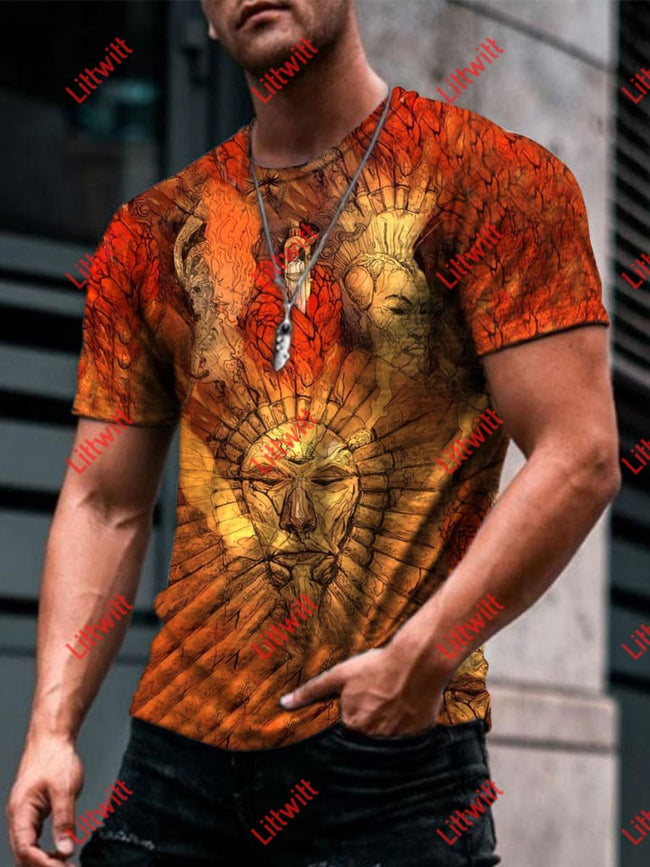Mens Trendy Defeat Of Dagoth Ur Art Print Short Sleeve Crew Neck T-Shirt As Pic / S