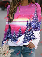 Snowy Sunrise Printed Sweatshirt