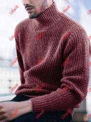 2020 Pullover High Neck Long Sleeve Knitted Mens Sweater Red / L