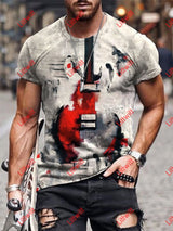 Mens Fashion Red Guitar Abstract Art Print Short Sleeve Crew Neck T-Shirt As Pic / S