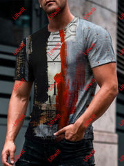 Mens Trendy Industrial Art Print Round Neck T-Shirt As Pic / S