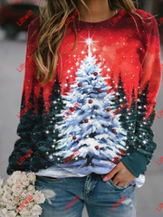 Christmas Tree Printed Long Sleeve Sweatshirt