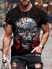 Mens Creative Skull Tree Art Print Short Sleeve Round Neck T-Shirt As Pic / S