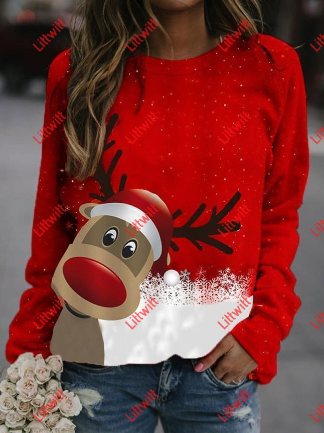 Reindeer Printed Christmas Sweatshirt As Pic / S