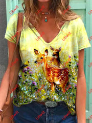 Deer Friends Print T-Shirt As Pic / S