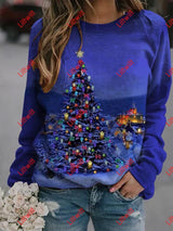 Christmas Tree With Lights Printed Sweatshirt As Pic / S