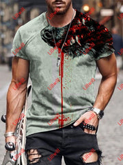Mens Fashion Bleeding Wolf Dark Art Print Short Sleeve Crew Neck T-Shirt As Pic / S