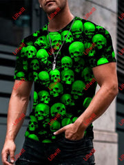 Mens Trendy Green Skulls Art Print Short Sleeve Crew Neck T-Shirt As Pic / S
