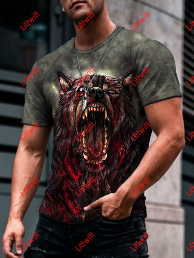 Mens Creative Scary Wolf Roar Art Print Short Sleeve Crew Neck T-Shirt As Pic / S