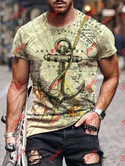 Mens Casual Retro Nautical Map And Anchor Art Print Short Sleeve Crew Neck T-Shirt As Pic / S