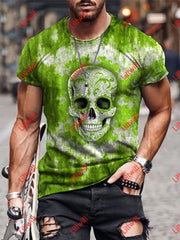 Mens Casual Green Pattern Skull Art Print Short Sleeve Round Neck T-Shirt As Pic / S