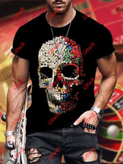 Mens Trendy Dice Skull Art Print Crew Neck Short Sleeve T-Shirt