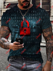 Mens Cyber Language Lock Art Print Crew Neck T-Shirt As Pic / S