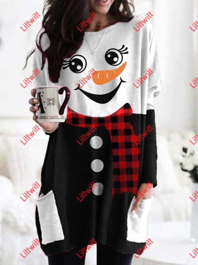 Ladies Plaid Snowman Print Casual Long T-Shirt As Pic / S