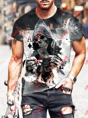 Playing Card Skull Series Men And Women Casual T-Shirt