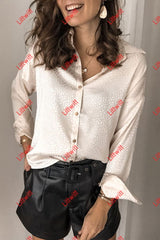 Turndown Collar Apricot Shirt Tops