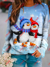 Penguins Skiing Printed Sweatshirt As Pic / S
