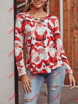 Christmas Long Sleeved V-Neck All Match T-Shirt Santa Claus / S