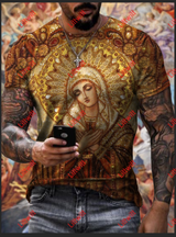 Mens Casual Virgin Mary Loose Crew Neck Short Sleeve T-Shirt
