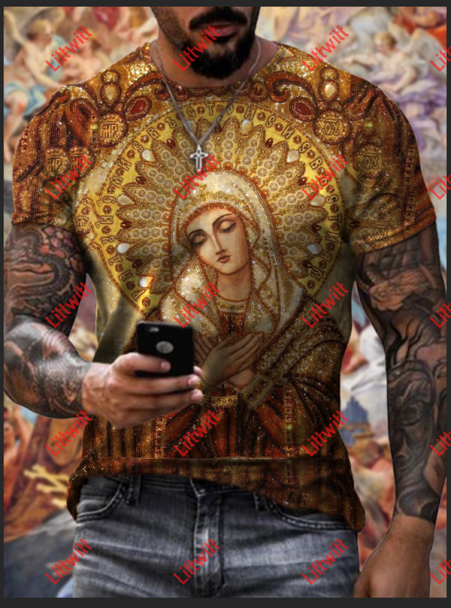Mens Casual Virgin Mary Loose Crew Neck Short Sleeve T-Shirt As Pic / S