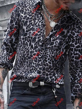 Mens Leopard Leisure Vacation Printed Shirt White / S