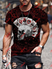 Mens Ace Of Anarchy Skull Art Print Crew Neck T-Shirt As Pic / S